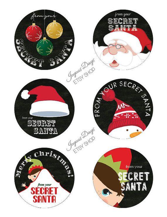 Secret Santa Gift Tags/Labels  Set of 6  3 inch by JoyousDays