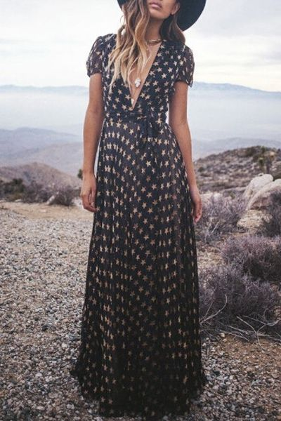 Full Star Print Short Sleeve Maxi Dress: Maxi Dresses | ZAFUL
