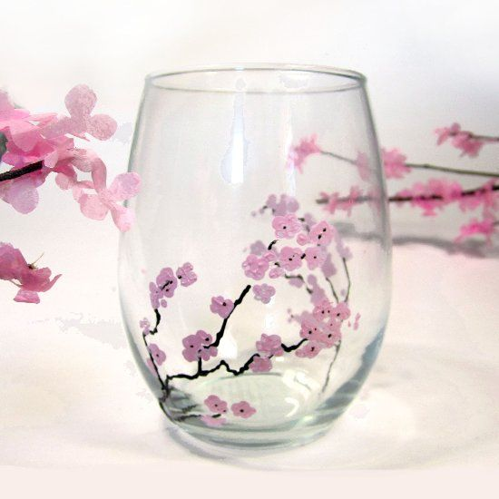 Create your own cherry blossom glass tumblers using only a pencil eraser. Make beautiful blooming branches with tissue paper.