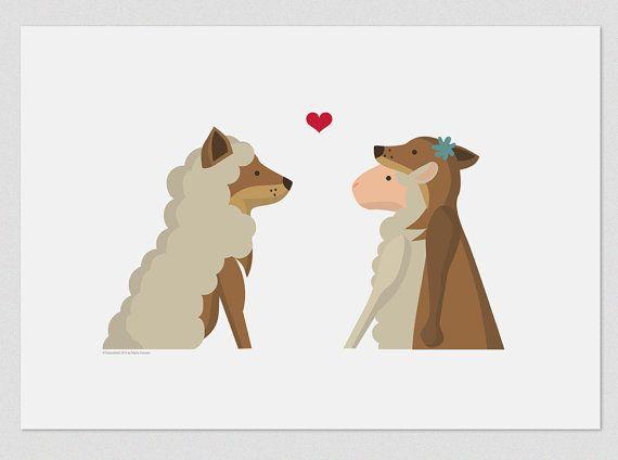 """Illustrazione. Lupo e l'agnello. 8X11.5 di stampa """". Arte della parete"""