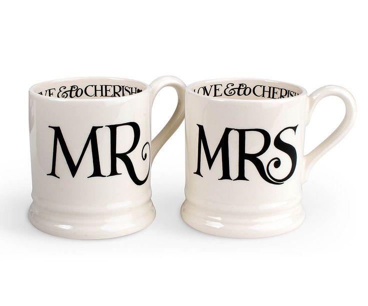 Mr & Mrs 1/2 Pint Mug Gift Boxed Set + Free Shipping