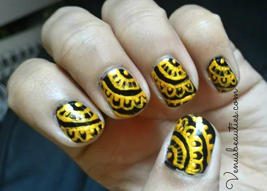 Black & Gold Henna nail art design step by step - Venus Beauties
