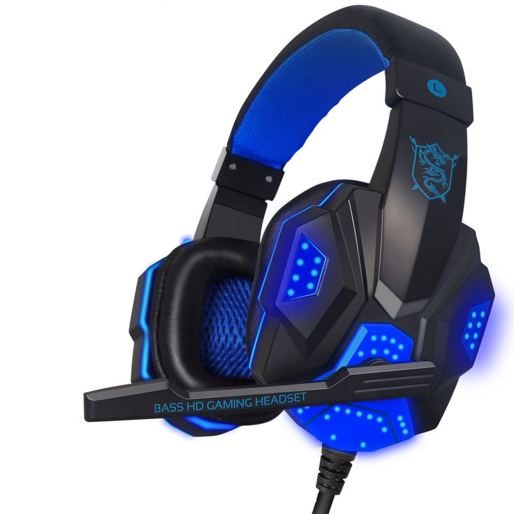 PC Gaming Headset, TNI New Quality Comfort PC Gaming Headset, 40MM Driver Unit, Double Bass, Volume Control, HD Microphone 3.5mm Stereo Plug + USB plug for LED - Model TNI-HS-011BL Hear all the action