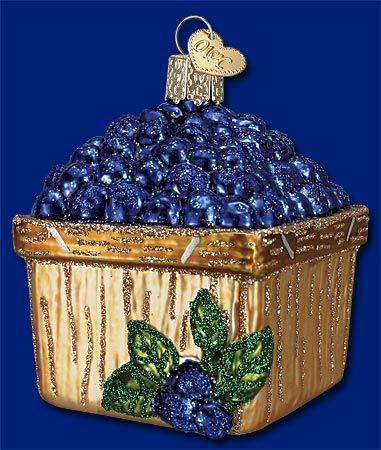 Basket of Blueberries,  Old World Christmas Glass Ornaments - what??? I love this!