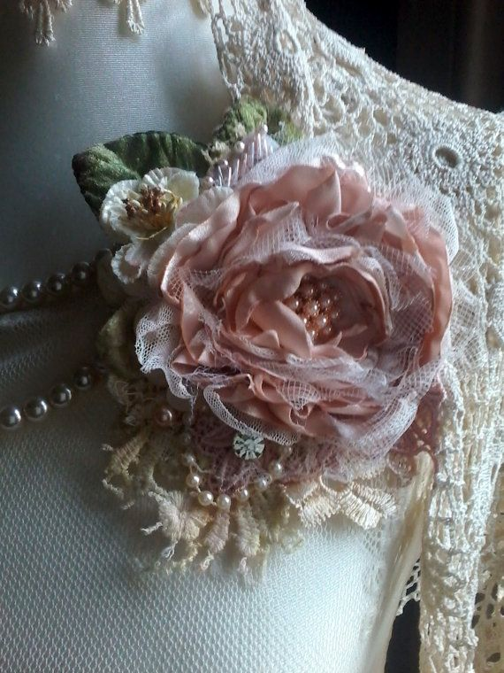 Seide rose Brosche/Corsage, Haar-Accessoire, Mutter der Braut, shabby chic…
