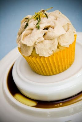 Olive Oil Cupcakes with Lemon, Thyme, and a Balsamic Vinegar Whipped Cream: Weird Thyming - from Cupcake Project