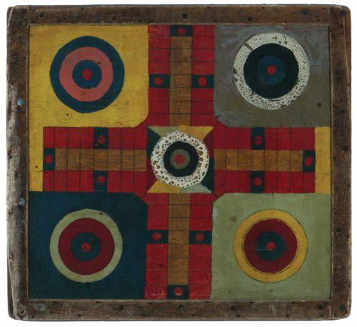 Antique Parcheesi game board