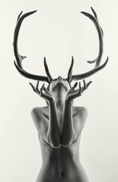 Mihaela as Cerynitis (edition of 15) #antlers #mythical black and white nude girl with antlers