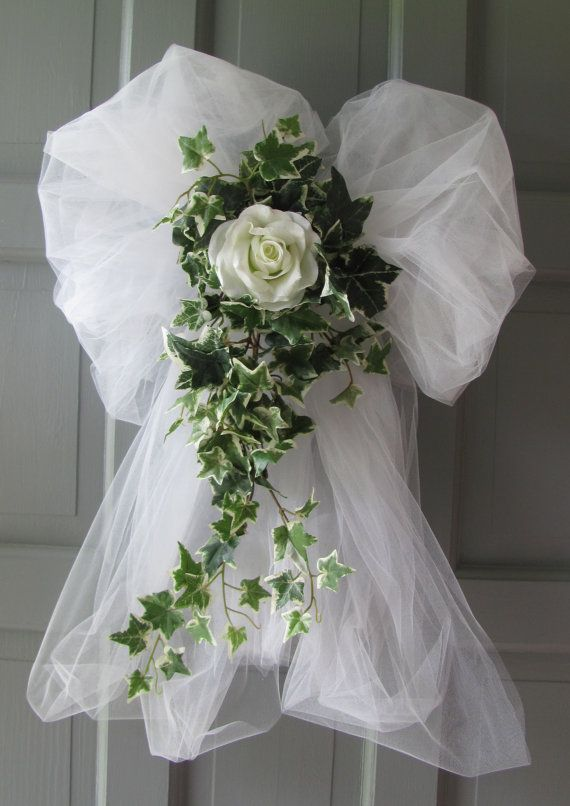 Wedding decorations rose ivy tulle bows pews doors chairs wedding doors and flower - Bow decorations for weddings ...