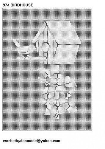 974 Birdhouse Filet Crochet Doily Afghan Tablecloth Pattern Curtain