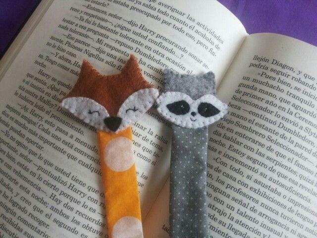 Bookmark marcalibros en paño lenci fieltro de animales zorro y mapache