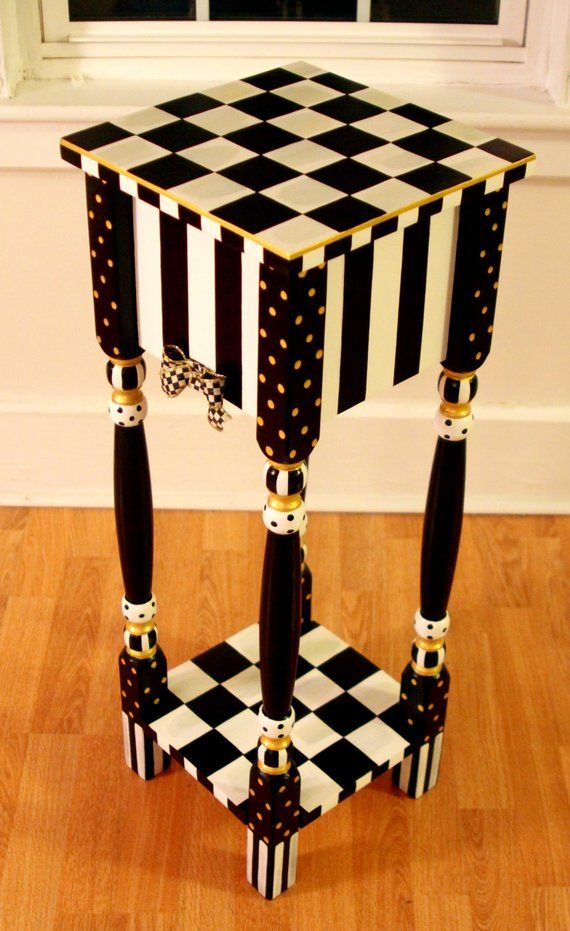 Whimsical Black And White Striped Checkered Side / End
