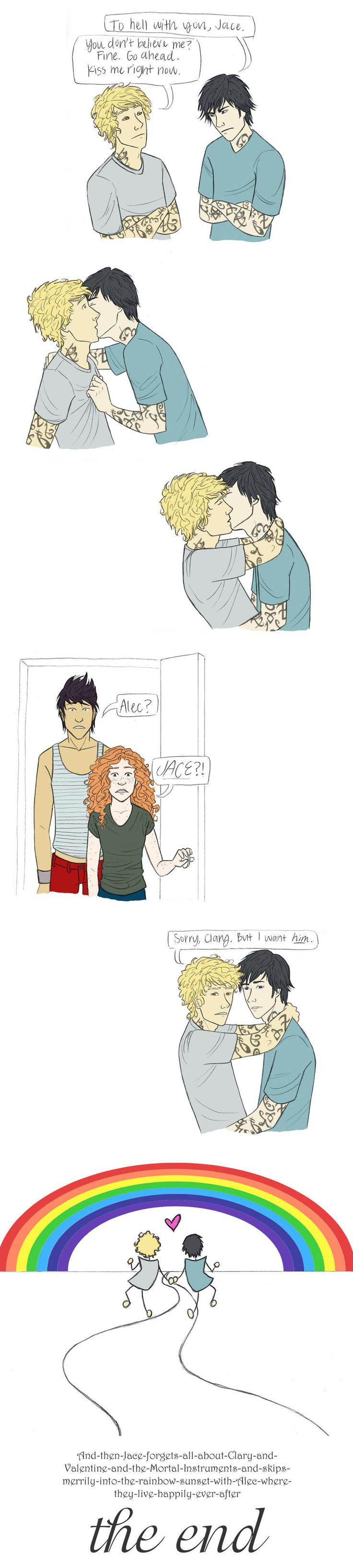 Talk about an experiment gone wrong!  Drawn by achelseabee ...  alexander 'alec' lightwood, clarissa 'clary' fray, comic, jace herondale, magnus bane, the mortal instruments