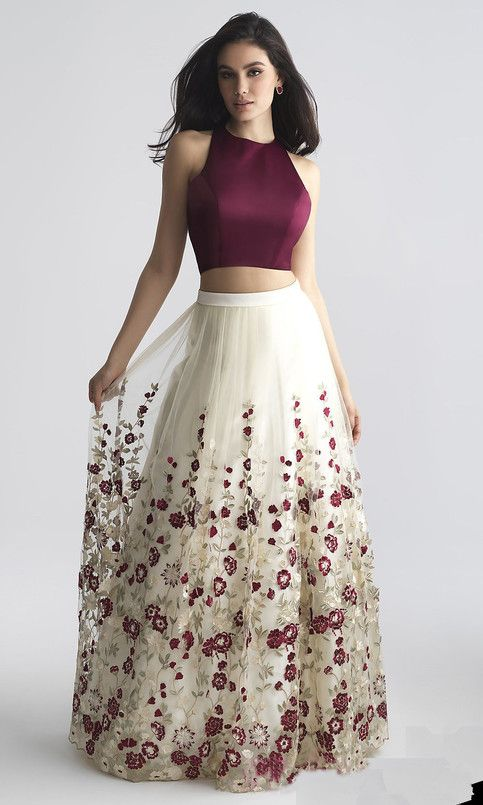 Charming Two-Piece Prom Dress,A-Line Prom Dress with Embroidery,Burgundy Sleeveless Prom Gown 2