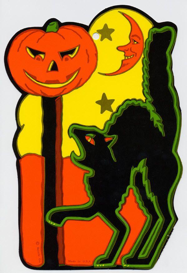 black cat with jack o lantern and moon vintage beistle halloween decoration - Black Cat Halloween Decorations