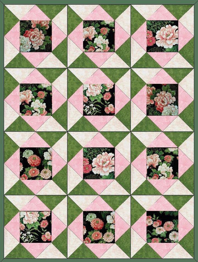 Peonies n Mums Quilt Kit Precut Blocks                                                                                                                                                                                 More