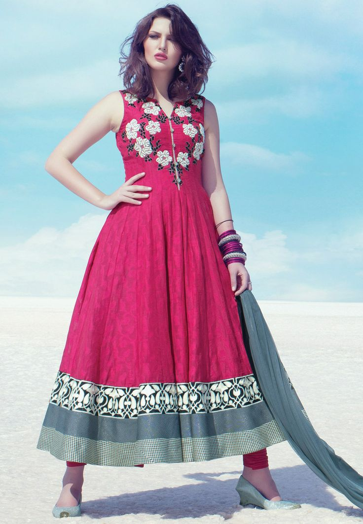 Fuchsia Chanderi Cotton Jacquard Readymade Anarkali Churidar Kameez