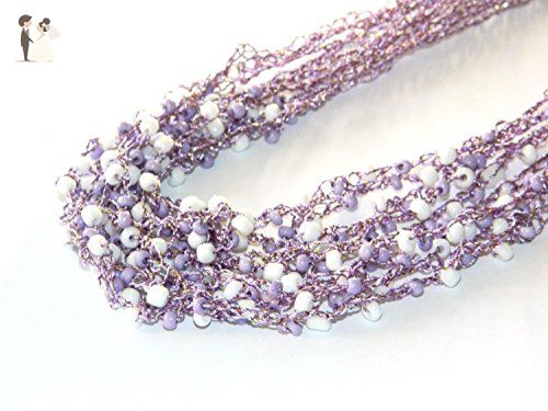 Air crochet necklace Layered jewelry airy beaded necklace Multistrand necklace Fiber linen beadwork Purple Crocheted jewelry Multi strand jewelry Layering necklace crochet jewelry mom gift - Bridesmaid gifts (*Amazon Partner-Link)