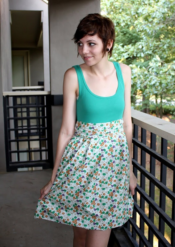 DIY dress. just be careful not to make it too short. Uses an old tank top and one strip of fabric
