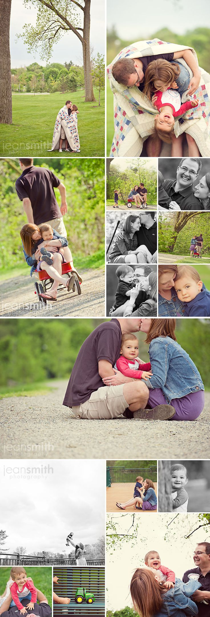 Sweet mixed series of family shots covering everyone from the couple to the family all together.