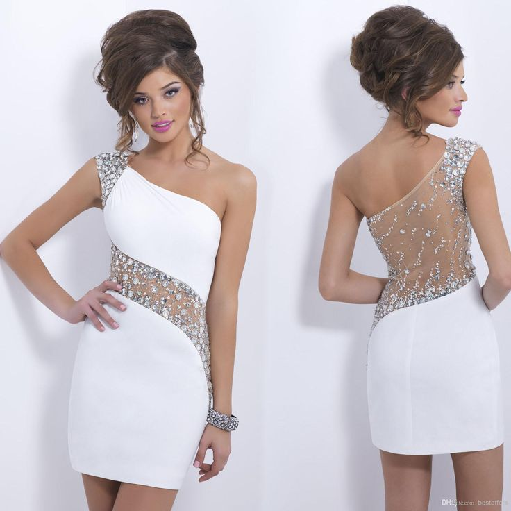 Cheap Homecoming Dresses - Discount One Shoulder Homecoming Dress with Beads And Crystals Sheer Back Short Mini Party Prom Cocktail Dresses C153 Online with $90.48/Piece | DHgate