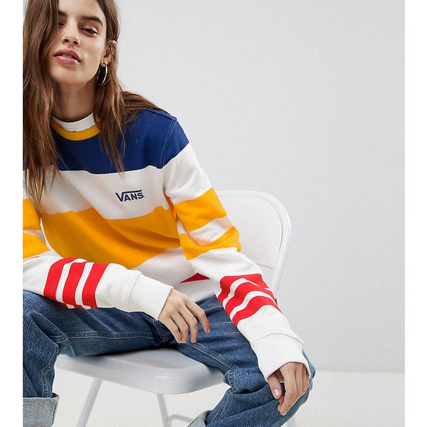 Vans Exclusive Sweatshirt In Multi Colour Stripe ($94) ❤ liked on Polyvore featuring tops, hoodies, sweatshirts, white, slouchy sweatshirt, white crewneck sweatshirt, sport sweatshirts, retro sweatshirts and striped crew neck sweatshirt
