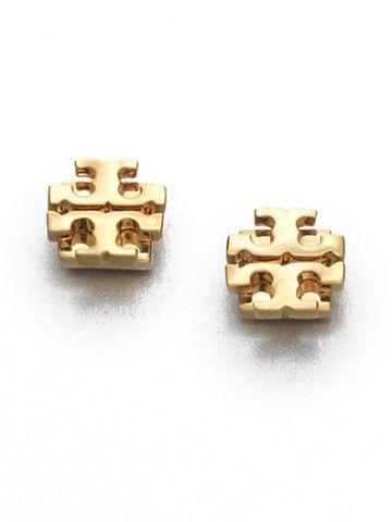 Tory Burch - Goldtone Logo Stud Earrings/.35