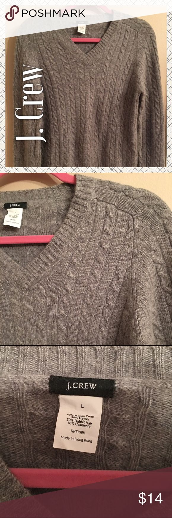 J. Crew Wool/Cashmere Cable Knit Sweater J. Crew Wool/Cashmere Cable Knit Sweater. Well loved with very minor pilling. Fit is between medium and large. Brownish Gray. J. Crew Sweaters