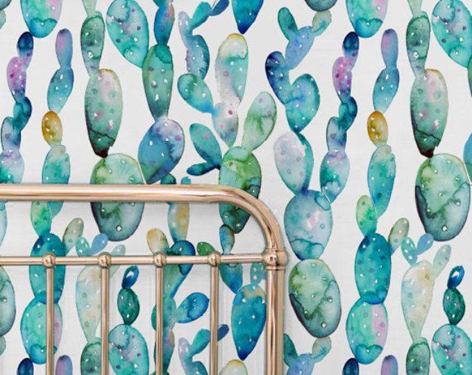 Amazing Aquarel Cactus Verwisselbare Behang, Aquarel Cactus Tijdelijke Behang,  Aquarel Kinderkamer Behang, Huurders Behang Design Ideas