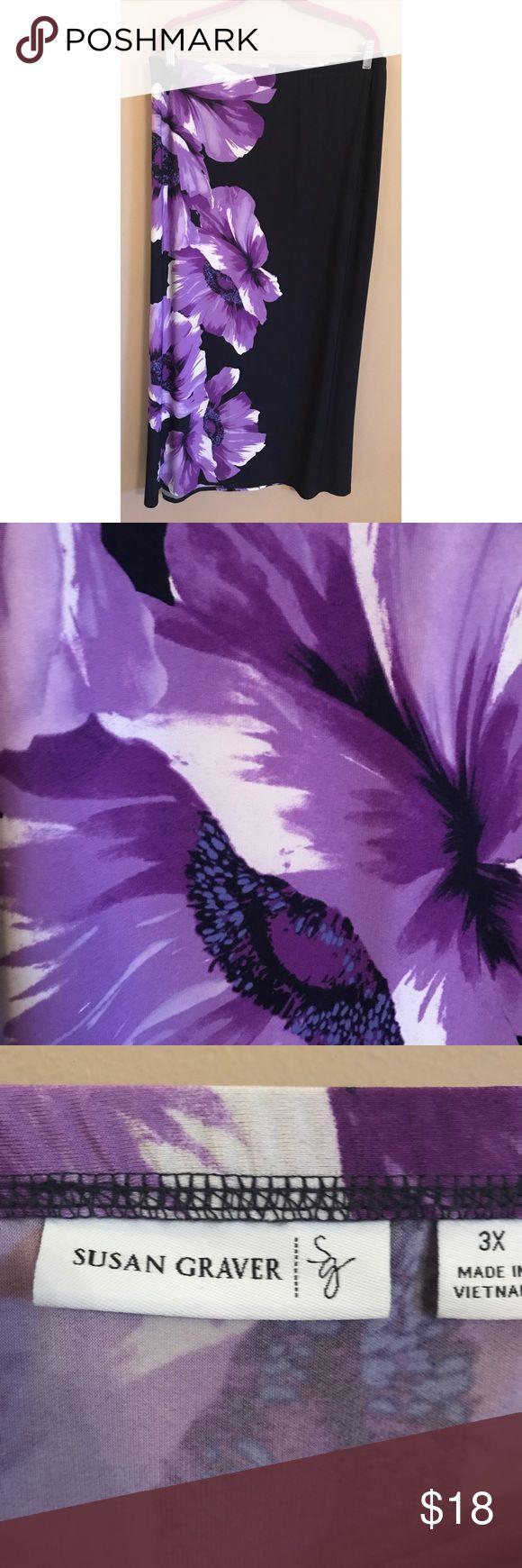 Susan Graver Purple Floral Maxi Skirt Size 3X Susan Graver Black and Purple Floral Maxi Skirt. Size 3X. Left side slit, elastic waistband. Materials: 95% Polyester 5% Spandex. Susan Graver Skirts Maxi