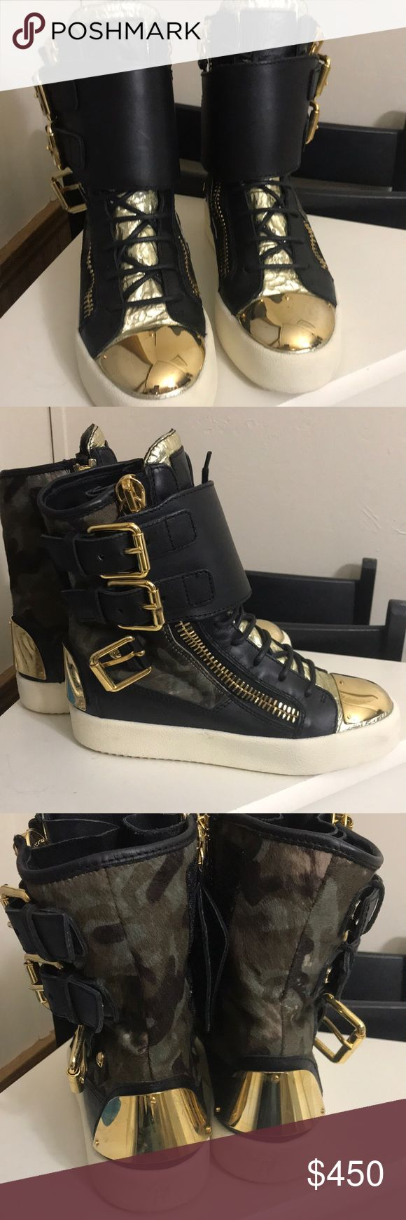 Giuseppe Zanotti Sneakers Giuseppe Zanotti sneakers - Camouflage pony hair and black leather high top sneakers. In extremely good condition. White soles. Comes with Dust Bag and Box - Giuseppe Zanotti Shoes Sneakers