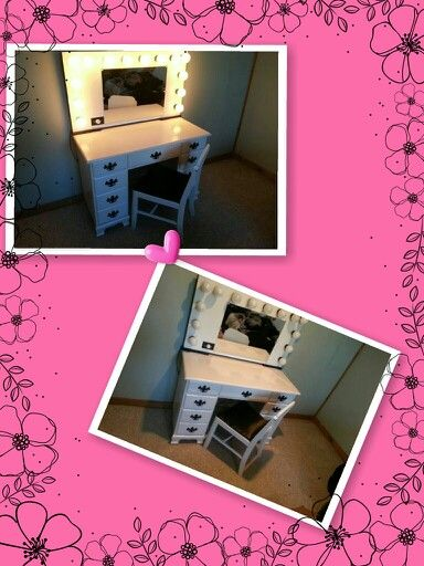 """Diy lighted vanity. Boyfriend bought an old desk for $45 at a consignment store and then built the lighted mirror with 1/4"""" mdf and 1/2"""" mdf, a custom cut mirror, 2 four bulb vanity light and 1 six bulb, and wired them into a dimmer switch. Its not quite finished yet but its beautiful. Just need to frame the outside of the vanity mirror top with black and add a cork board, magnetic frame or picture frame along aide the mirror and add a spot to hang my hair irons"""