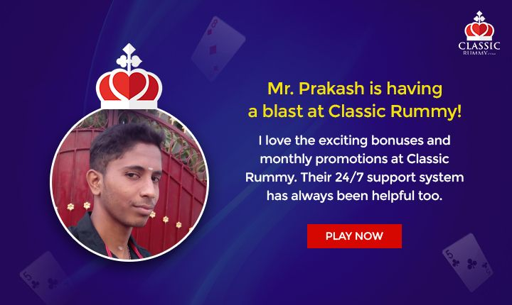Thank you, Prakash. Your satisfaction is what we aim for! We're extremely happy that you're enjoying the offerings of Classic Rummy. #rummy #onlinerummy #testimonial #cardgames #Indianrummy #classicrummy #rummycards