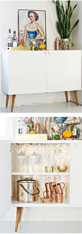 This beautiful, mid-century bar was made by Brittany @brittanymakes.com, using the BESTÅ cabinets!