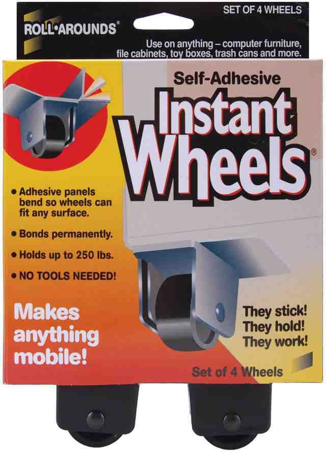 Self adhesive Instant wheels... so many uses! Put on old drawers to store under…