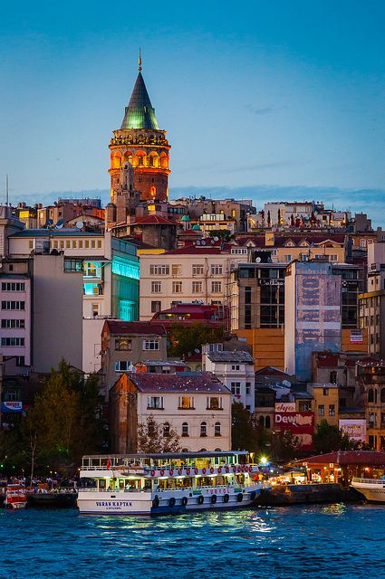 Galata Tower at dusk - Istanbul, Turkey (by Steven Johnson)