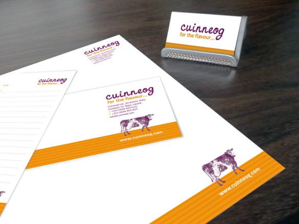 Corporate identity for Cuinneog Ltd. – producers of quality artisan dairy products from Farmhouse Irish Country Butter to buttermilk. www.akgraphics.ie