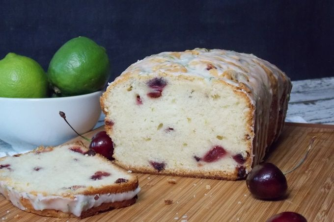 """Cherry Poundcake with Lime Glaze – A buttery pound cake filled with fresh cherries, baked to a dense perfection and drizzled with a lime glaze. Amazing flavor and perfectly portable! Today's #SundaySupper is all about """"Food that Travels"""" and we are sharing with you all the amazing and delicious recipes that you could take on...Read More »"""