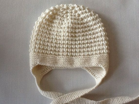 Hand knitted cream baby hat 3-6 months.Made to order. Choose your own colour.
