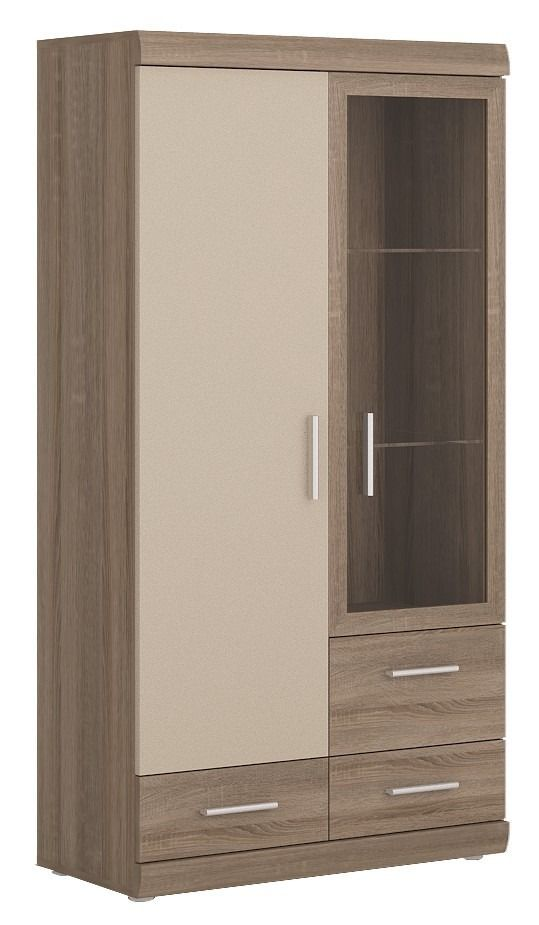 Park Lane 2 Door 3 Drawer Glazed Display Cabinet In Oak U0026 Champagne