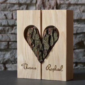 Herzvase Holzdeko Esche mit Glasrhrchen  Basteln Holz