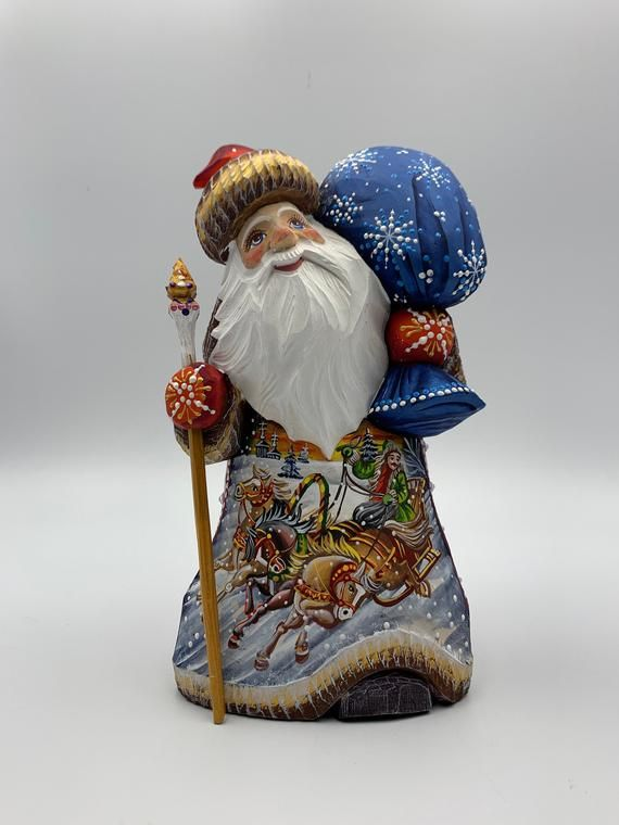 9 Wooden Carved Winter Scene Santa Father Frost Ded Etsy Red Christmas Decor Red Christmas Santa