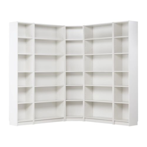BILLY Corner combination - white, 69 5/8/11x69 5/8x79 1/2 (for library nook - made to look like built-ins, backs painted in Wrought Iron by Martha Stewart)