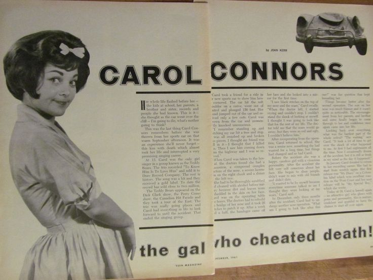 The Teddy Bears, Carol Connors, Two Page Vintage Clipping