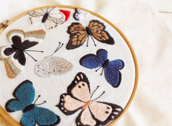 Embroidery Inspiration! would love to do an embroidery version of a framed butterfly collection in neat orderly rows. Embroidery by Yumiko Higuchi