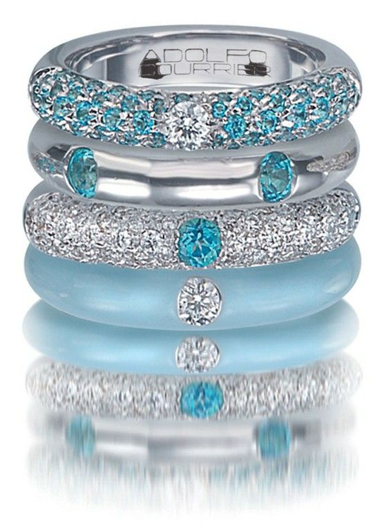 Adolfo Courrier Classic 18k White Gold, Turquoise, Enamel, Blue Topaz, and Diamond Stack Ring Set from Traditional Jewelers. (=)