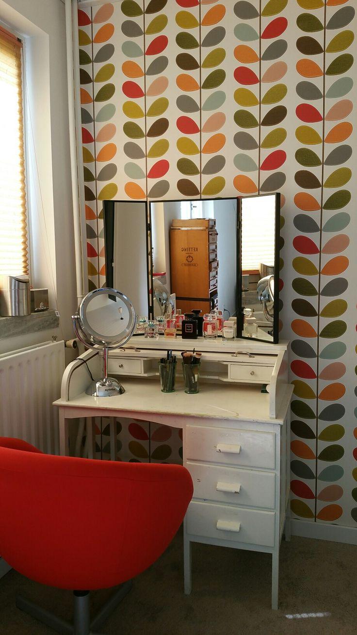 Vanity corner Vintage secretaire; mirror Ikea Karmsund, wallpaper Orla Kiely.
