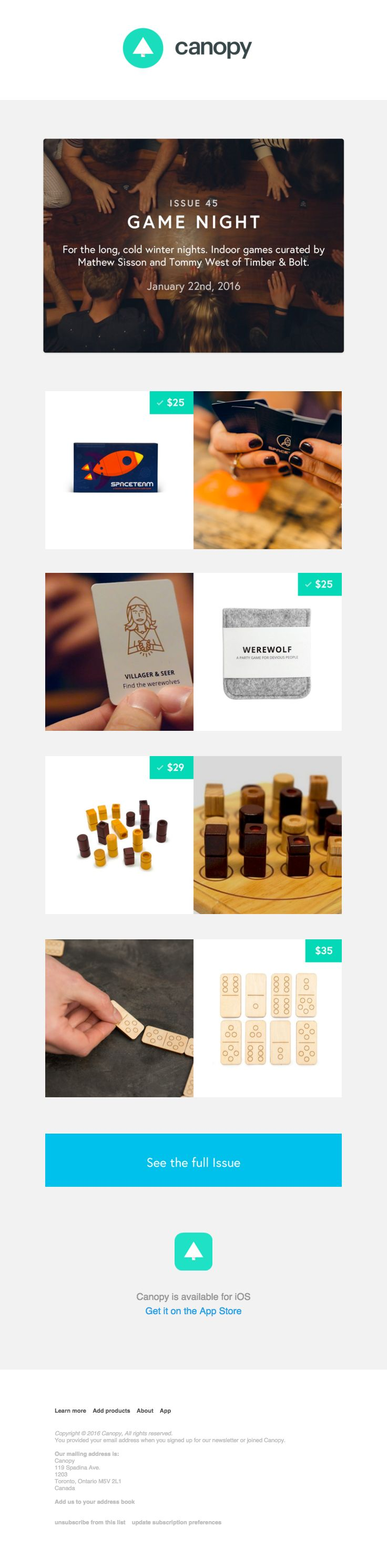 @joincanopy  sent this email with the subject line: Game Night, Curated by Timber & Bolt - Read about this email and find more retention emails at ReallyGoodEmails.com #app #ecommerce #newsletter #retention