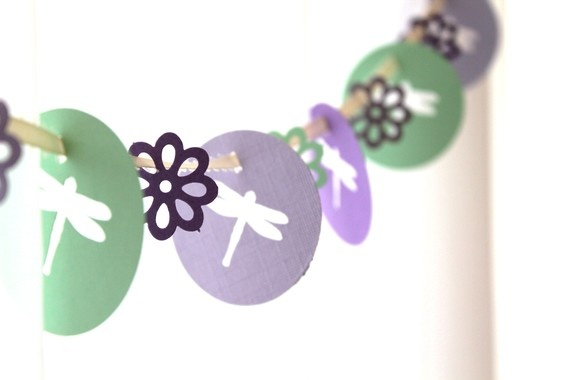 6 Foot - Spring Dragonfly and Blossom Garden Party Banner Garland perfect for Bridal or Baby Showers. $6.00, via Etsy.