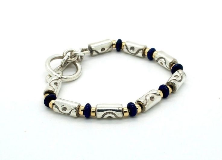Authentic Movado Sterling Silver 18K Gold Blue Bead Barrel Chain Toggle Bracelet #Movado #Chain